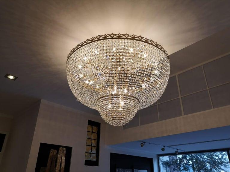 German Low Flush Mount Crystal Chandelier Empire Big Palace Lamp Chateau Lustre For Sale