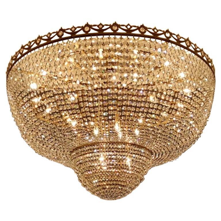 Low Flush Mount Crystal Chandelier Empire Big Palace Lamp Chateau Lustre For Sale