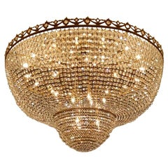 Low Flushmount Crystal Chandelier Empire Big Palace Lamp Chateau Lustre