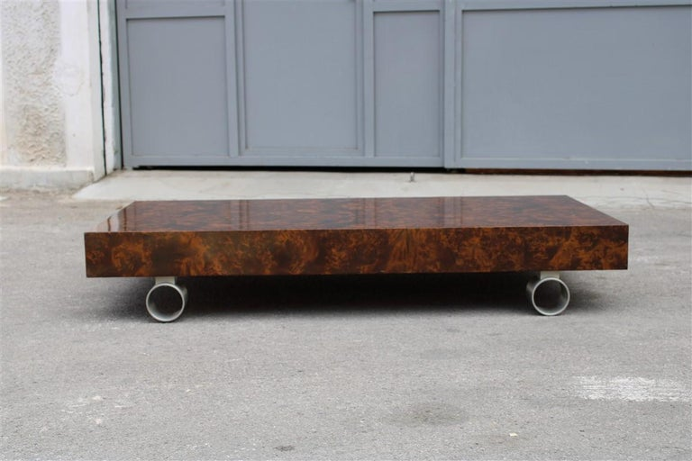 Mid-Century Modern Low French Coffee Table Briar Walnut Satin Metal Feet Paul Evans Style, 1970 For Sale