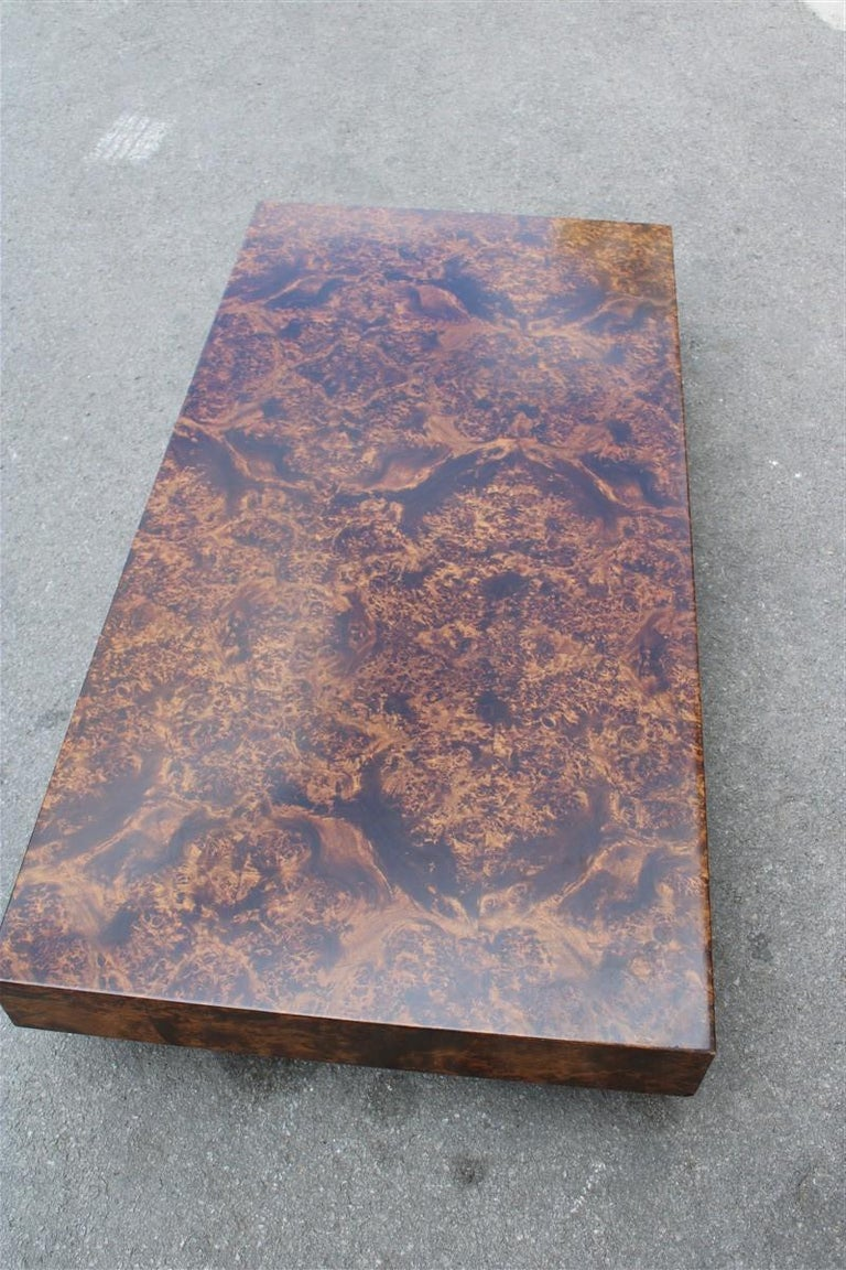 Low French Coffee Table Briar Walnut Satin Metal Feet Paul Evans Style, 1970 In Good Condition For Sale In Palermo, Sicily