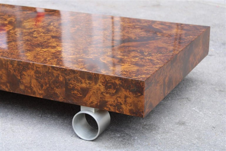Low French Coffee Table Briar Walnut Satin Metal Feet Paul Evans Style, 1970 For Sale 1