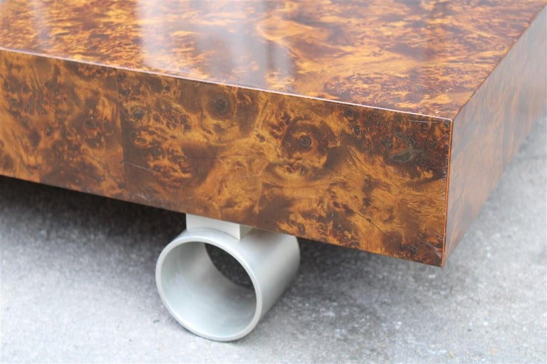 Low French Coffee Table Briar Walnut Satin Metal Feet Paul Evans Style, 1970 For Sale 2