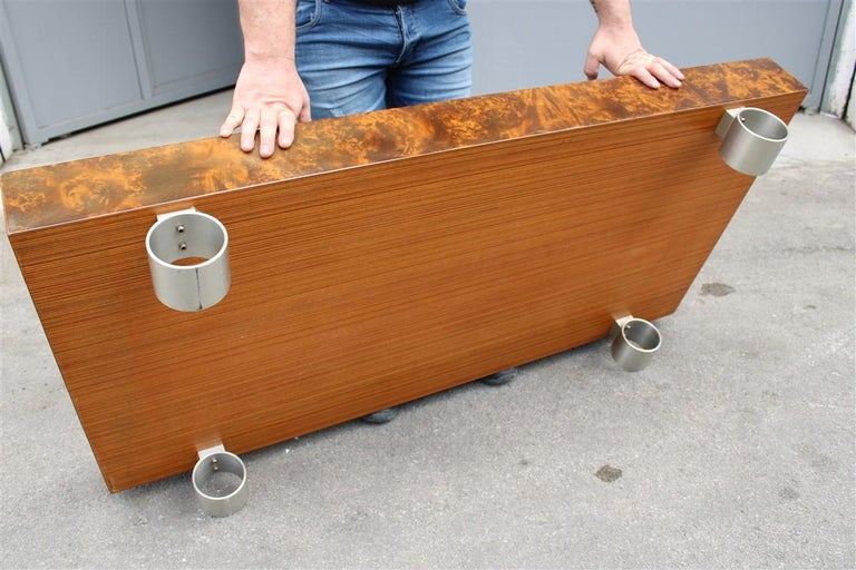 Low French Coffee Table Briar Walnut Satin Metal Feet Paul Evans Style, 1970 For Sale 3