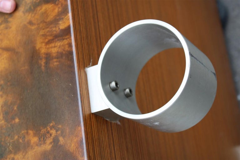 Low French Coffee Table Briar Walnut Satin Metal Feet Paul Evans Style, 1970 For Sale 4