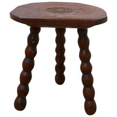 Low French Midcentury Wooden Bobbin Stool or Side Table