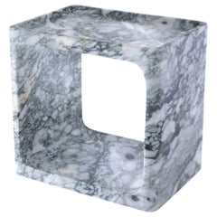 Low Hollowed Square Carved Block Carrera Marble Side or Nightstand Table
