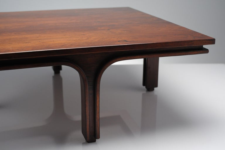 Low Italian Modern Rosewood Coffee Table by Gianfranco Frattini, 1956 For Sale 8