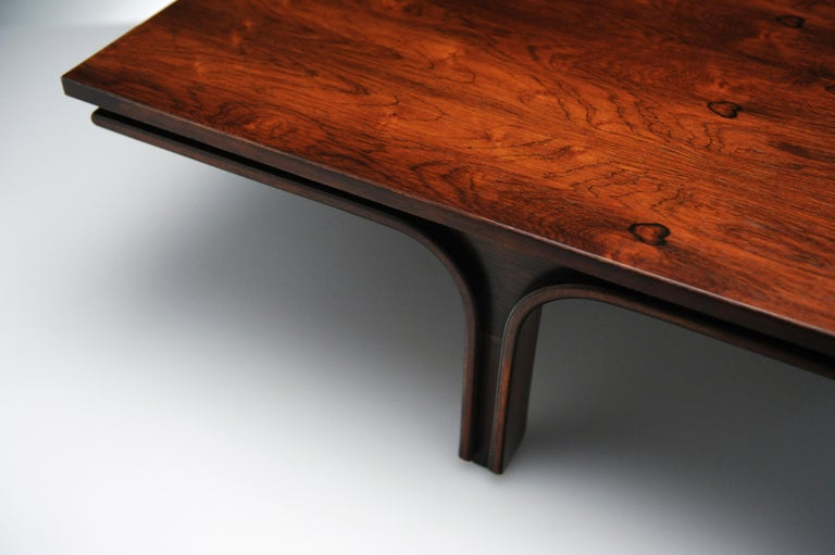 Low Italian Modern Rosewood Coffee Table by Gianfranco Frattini, 1956 For Sale 9