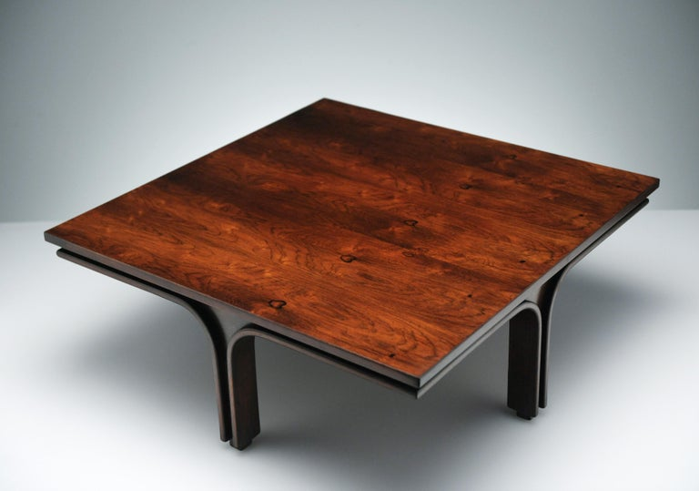Low Italian Modern Rosewood Coffee Table by Gianfranco Frattini, 1956 For Sale 11