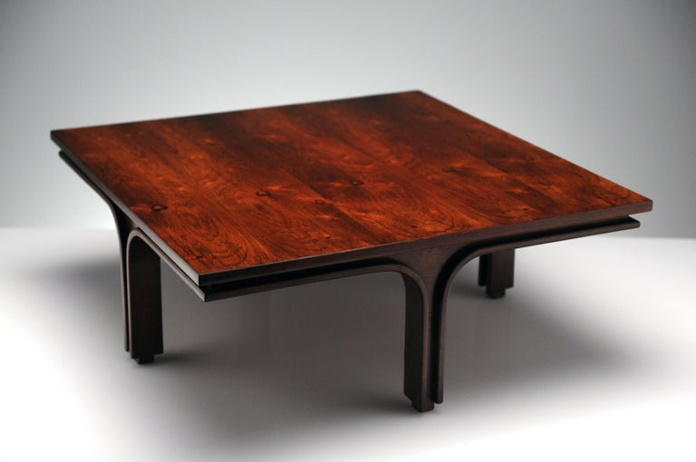 Mid-Century Modern Low Italian Modern Rosewood Coffee Table by Gianfranco Frattini, 1956 For Sale
