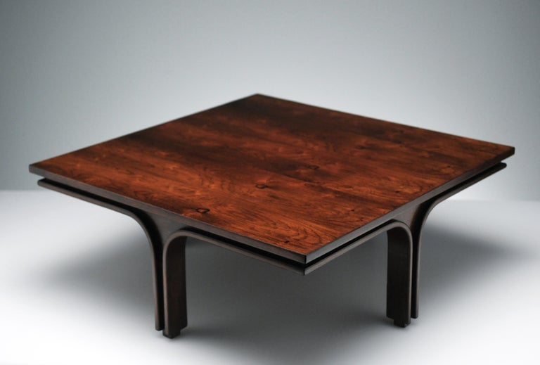 Mid-20th Century Low Italian Modern Rosewood Coffee Table by Gianfranco Frattini, 1956 For Sale
