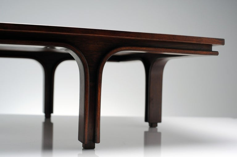 Wood Low Italian Modern Rosewood Coffee Table by Gianfranco Frattini, 1956 For Sale