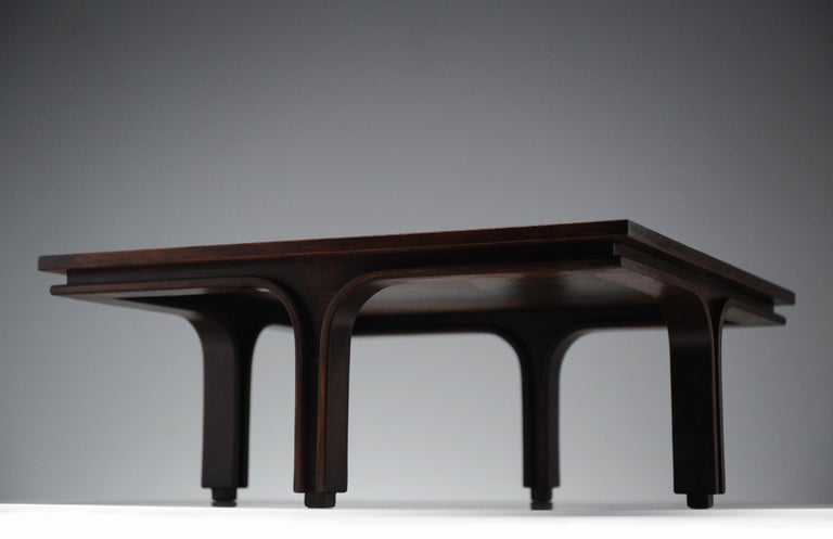 Low Italian Modern Rosewood Coffee Table by Gianfranco Frattini, 1956 For Sale 1