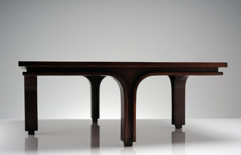 Low Italian Modern Rosewood Coffee Table by Gianfranco Frattini, 1956 For Sale 2