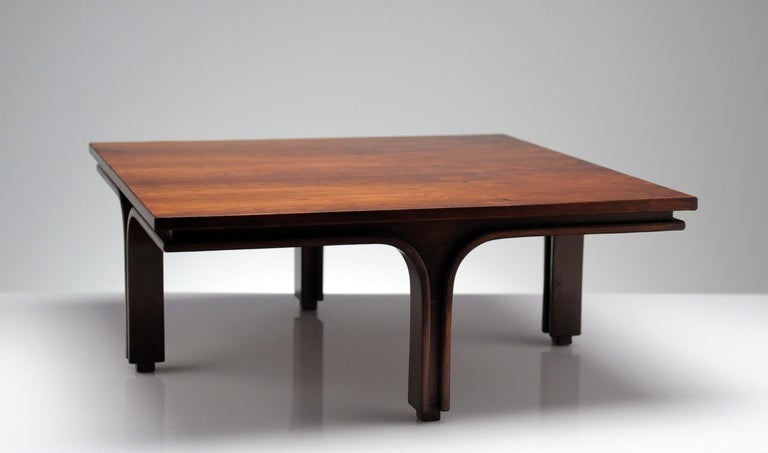 Low Italian Modern Rosewood Coffee Table by Gianfranco Frattini, 1956 For Sale 3