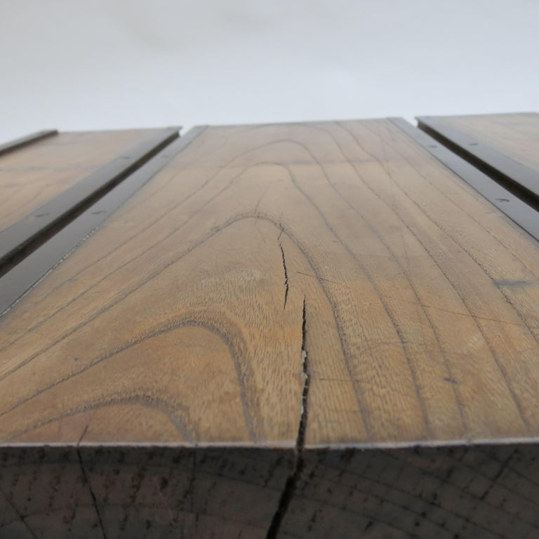 Low Japanese Elm and Metal Table Zen Table For Sale 4