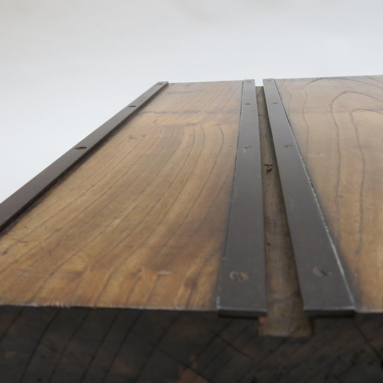 Low Japanese Elm and Metal Table Zen Table For Sale 5