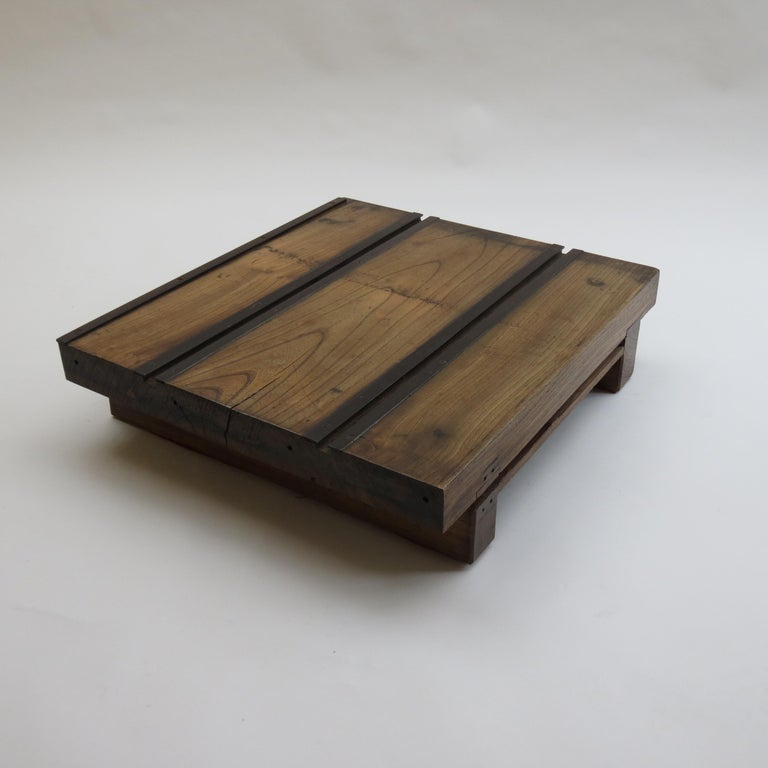 Low Japanese Elm and Metal Table Zen Table For Sale 6