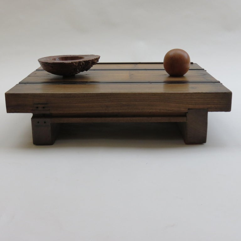 Low Japanese Elm and Metal Table Zen Table For Sale 7
