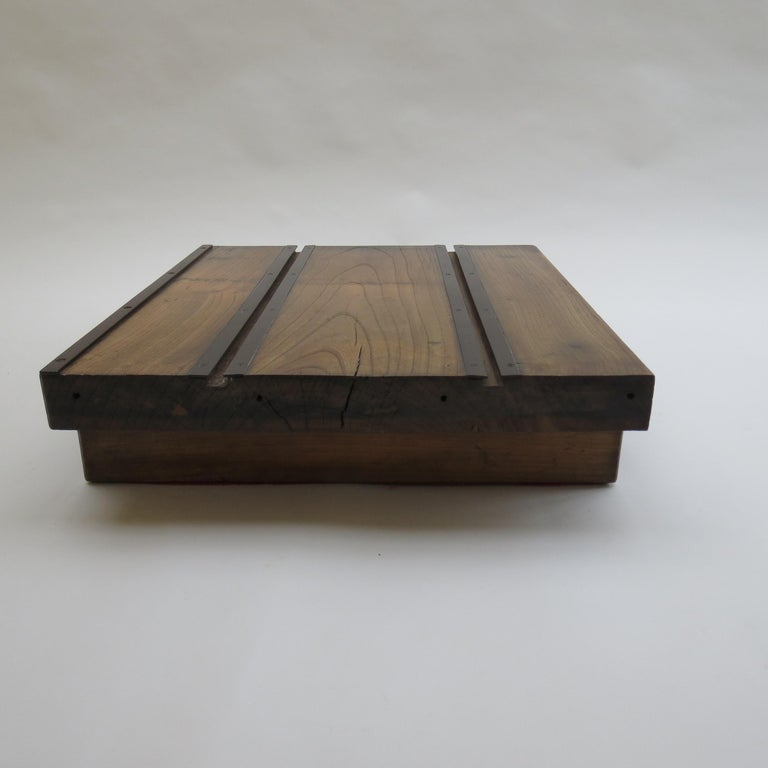 Machine-Made Low Japanese Elm and Metal Table Zen Table For Sale