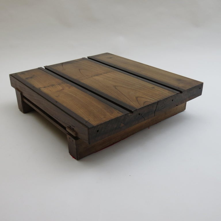Low Japanese Elm and Metal Table Zen Table For Sale 2