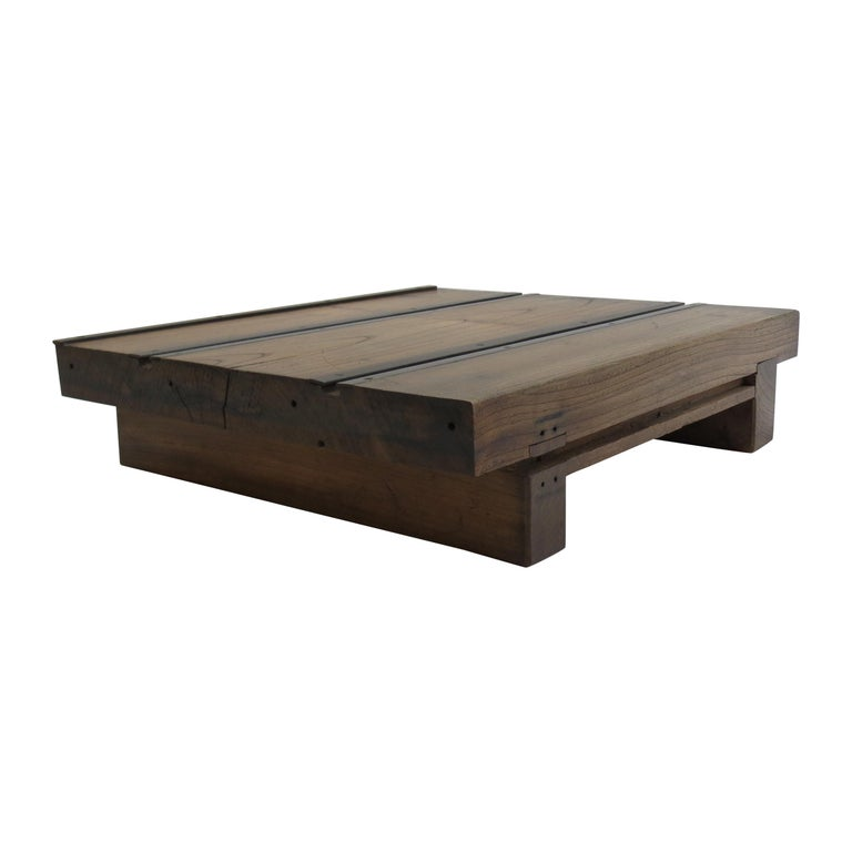Low Japanese Elm and Metal Table Zen Table For Sale