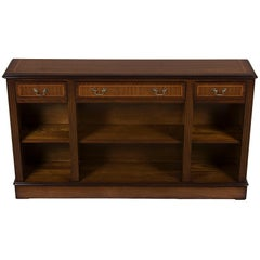 Low Long Narrow Open Mahogany Bookcase with Drawers