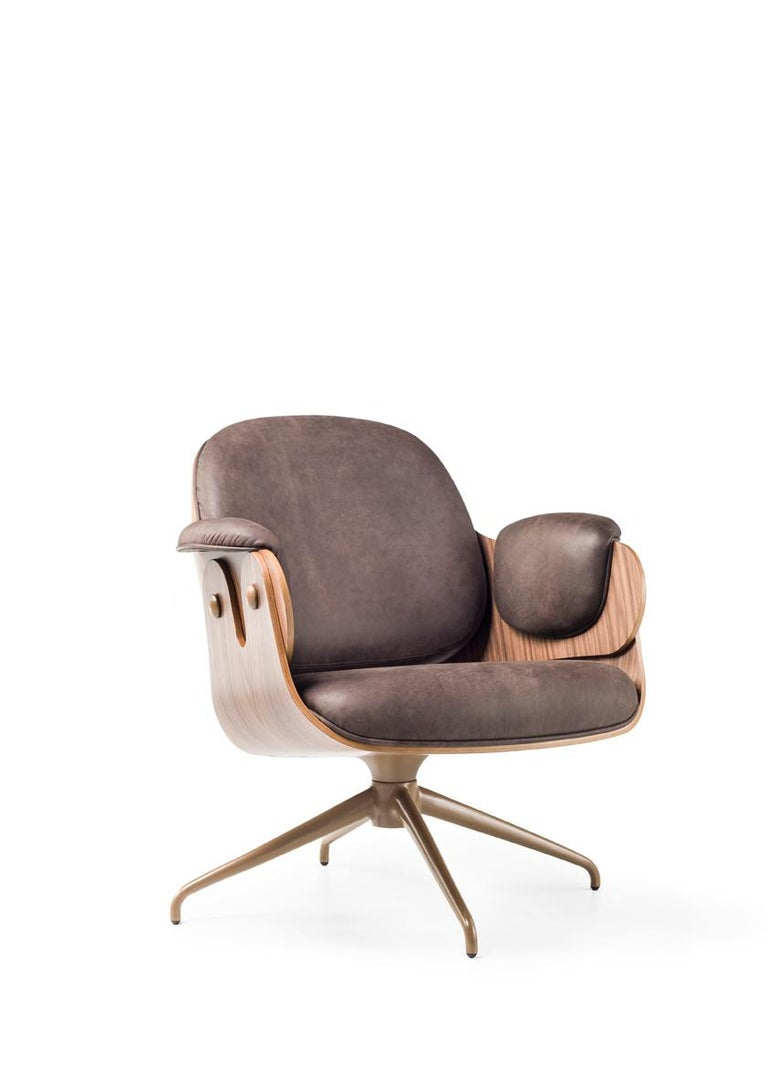 Spanish Low Lounger, Swivel Wooden Armchair upholstered in leather by Jaime Hayon For Sale