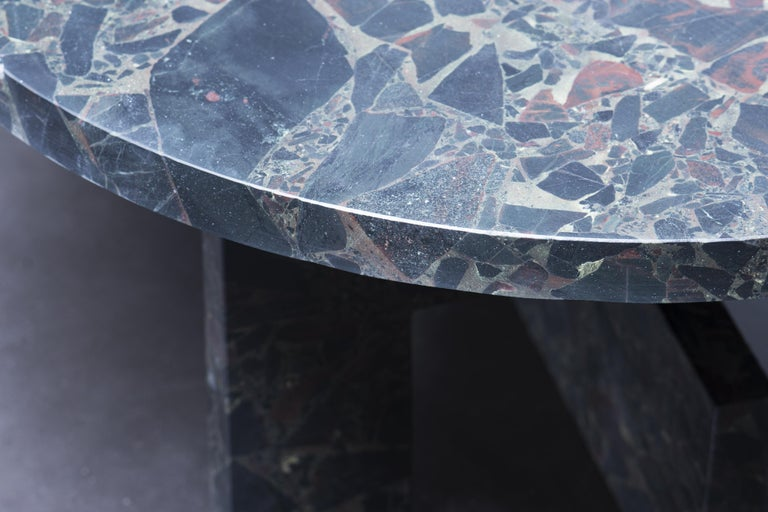 Low marble table - Sébastien Caporusso  Title: Palazzo  Material: Marble Portastella   Measures: H. 34 x Ø 47cm   To penetrate into the imagination of the interior architect and designer Sébastien Caporusso is not a linear journey but a dreamlike
