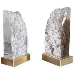 Low Meru Light by Robert Kuo, Crystal and Brass, Limited Edition, in Stock
