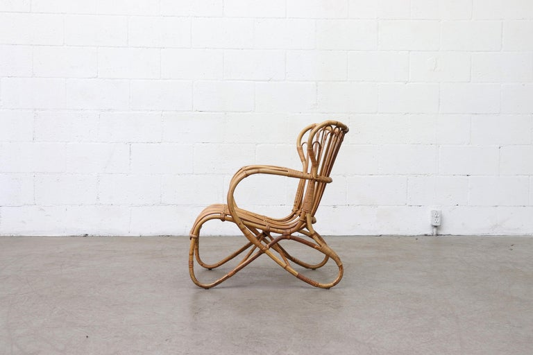 Dutch Low Midcentury Bamboo Lounge Armchair For Sale