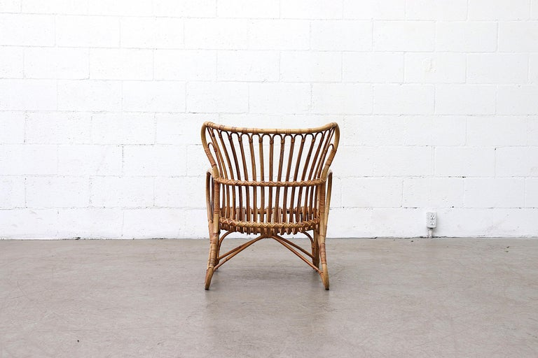 1960s Low Midcentury Bamboo Lounge Armchair For Sale