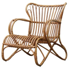 Low Midcentury Bamboo Lounge Armchair