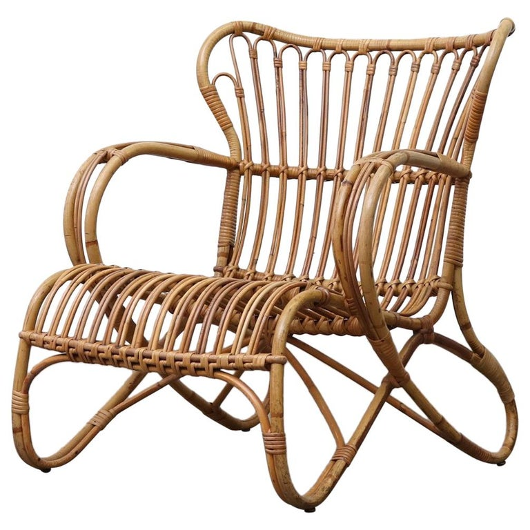 Low Midcentury Bamboo Lounge Armchair For Sale