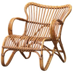 Low Midcentury Bamboo Rattan Lounge Chair