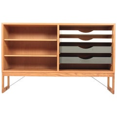Low Midcentury Bookcase, Oak with Colored Drawers by Børge Mogensen