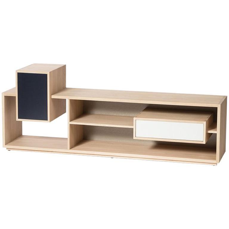 Low Oak TV Sideboard in Solid French Oak For Sale