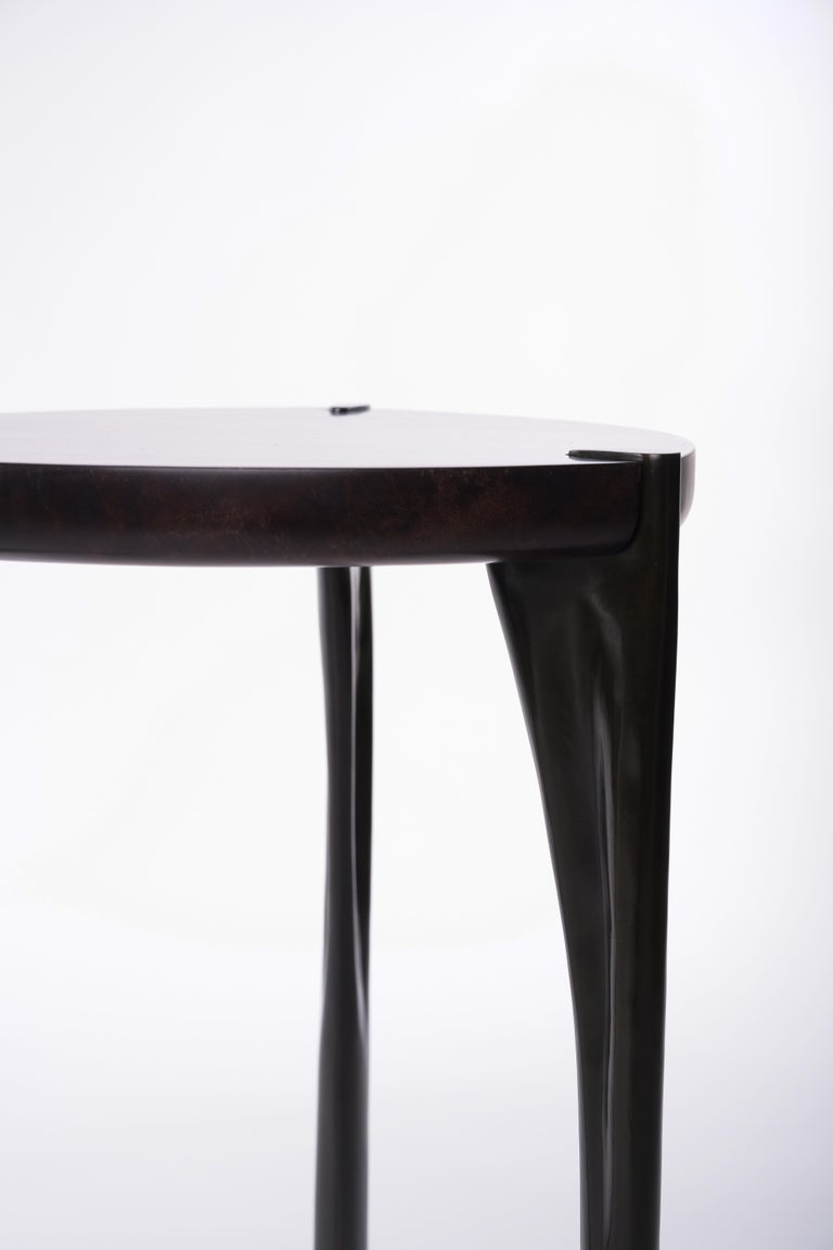 Modern Low Oscar Side Table with Parchment Top and Bronze Legs by Elan Atelier For Sale