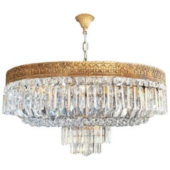 Low Oval Plafonnier Crystal Chandelier Brass Lustre Ceiling Antique Art Nouveau