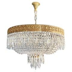 Low Oval Plafonnier Crystal Chandelier Brass Lustre Ceiling Antique Art Nouveau