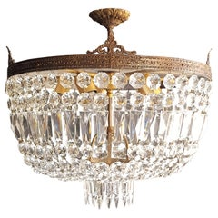 Low Plafonnier Crystal Chandelier Brass Lustre Ceiling Antique Art Nouveau