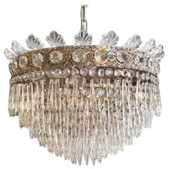 Low Plafonnier Crystal Chandelier Brass Lustre Ceiling Antique Art Nouveau