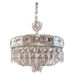 Low Plafonnier Silver Crystal Chandelier Lustre Ceiling Lamp Antique Chrome