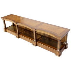 Low Profile Burl Wood Banded Credenza Display Bench or Table with Brass Shelf