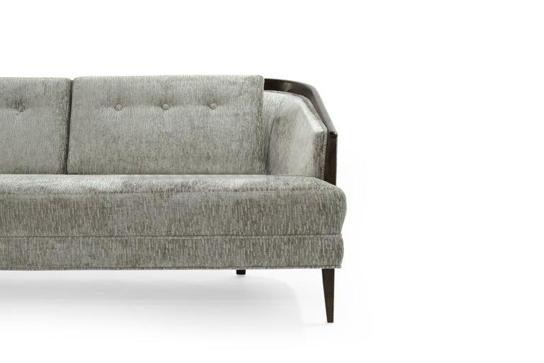 Low Profile MCM Walnut Frame Sofa in Grey Chenille bei 1stdibs