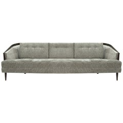 Low Profile MCM Walnut Frame Sofa in Grey Chenille
