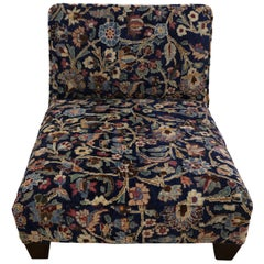 Low Profile Slipper Chair or Persian Petbed from Antique Persian Khorassan Rug