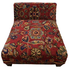 Low Profile Upholstered Slipper Chair from Antique Persian Rug or Luxury Petbed