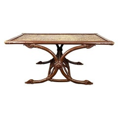 Low Rectangular Brown Rustic Bamboo and Rattan Coffee Table in Brown